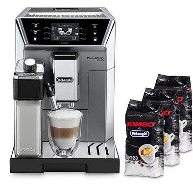 Produktabbildung DeLonghi SET ECAM550.75.MS PrimaDonna + 3 kg Kimbo Kaffee